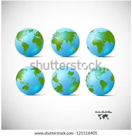 Set of blue globe icons with different continents - stock vector
