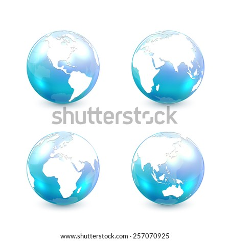 Set of blue globes isolated on white background, illustration. - stock vector