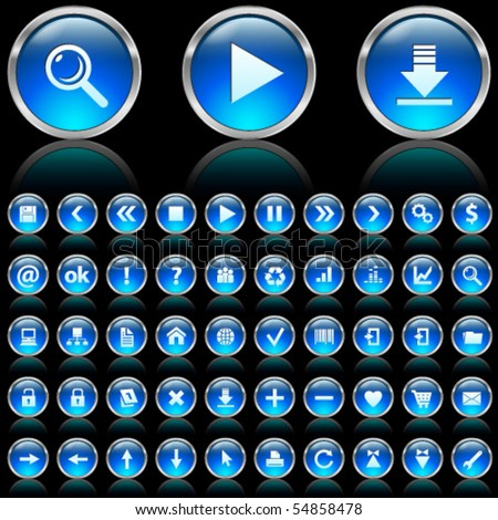 Set of blue glossy icons on black background - stock vector
