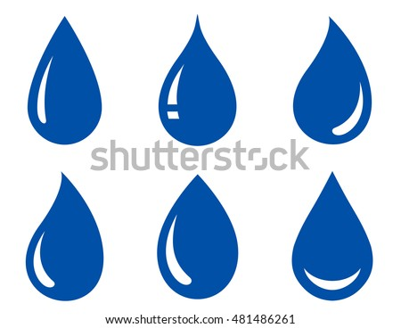 set of blue glossy water drops on white background.