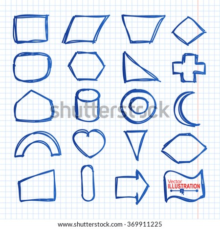 Set of Blue Hand Drawn Pencil Figures. Circle, Oval, Square, Rectangle  on Squared Paper Background. Vector illustration. - stock vector