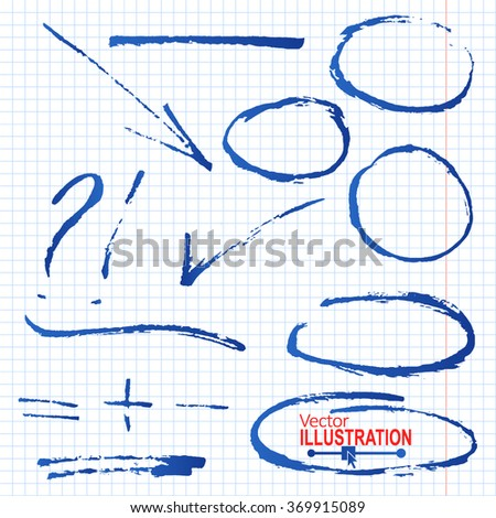 Set of Blue Hand Drawn Pencil Underlines. Circle, Oval, Square, on Squared Paper Background. Vector illustration. - stock vector