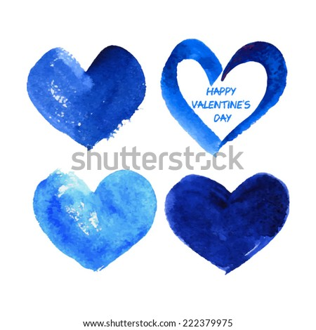 set of blue heart in watercolor style for greeting card. Happy Valentine's Day. vector - stock vector