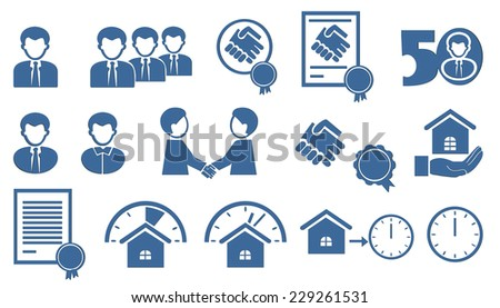 set of blue icons - stock vector