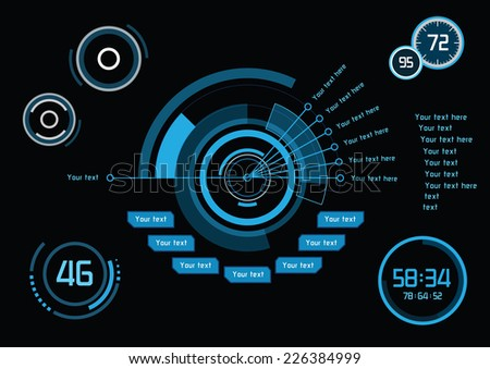 Set of blue infographics as head-up display - stock vector