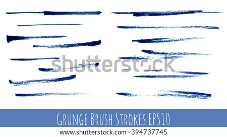 Set of blue ink grunge vector brush strokes. Design elements for your projects or brushes.