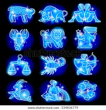 Set of blue linear zodiacal signs with figures on dark starry background. Horoscope figures with stars. Vector illustration - stock vector