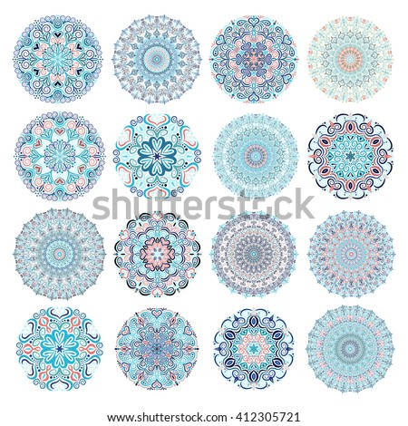 Set of blue mandalas. Decorative round ornaments. Anti-stress therapy patterns. Weave design elements. Yoga logos, backgrounds for meditation poster. Unusual flower shape. Oriental snowflakes vector. - stock vector