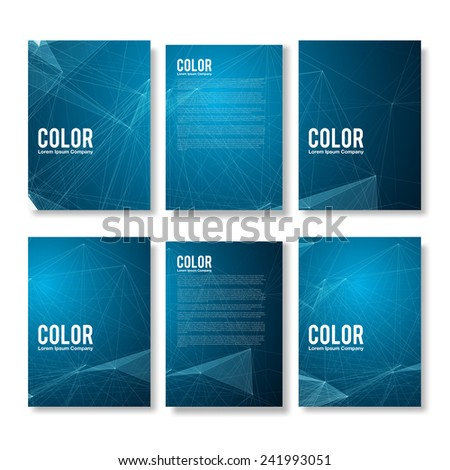 Set of Blue Modern Abstract Flyers  - EPS10 Brochure Design Templates - stock vector
