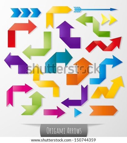 Set of blue origami arrows with realistic shadows for your design. Vector illustration.