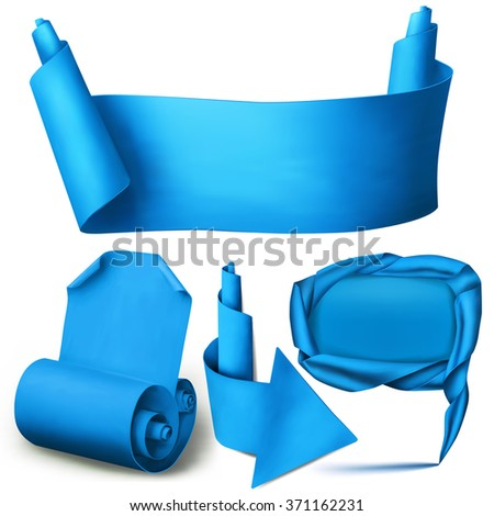 Set of blue paper realistic elements. Banner, arrow, pointer and curved blank. Vector Illustration - stock vector
