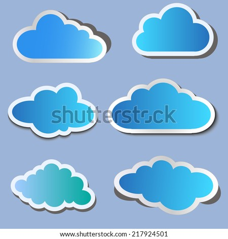 Set of blue paper volumetric clouds with shadow