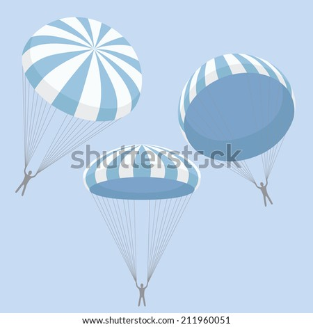 set of blue parachutes - stock vector