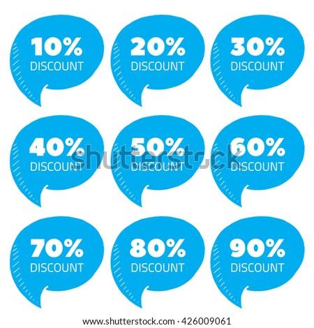 Set of blue percent discount speech bubble, sale vector illustration - stock vector