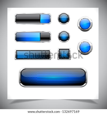 Set of blue plastic buttons for web. Vector illustration. - stock vector