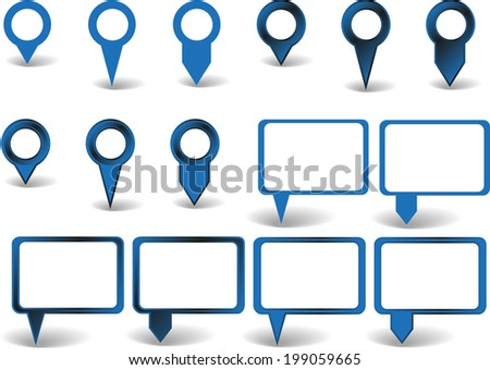 Set of blue pointers on white background with shadows