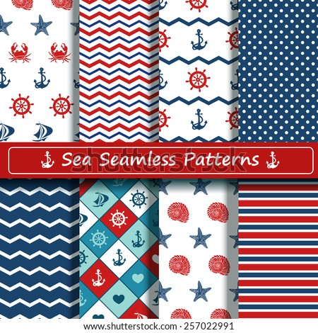 Set of blue, red and white sea seamless patterns. Scrapbook design elements. All patterns are included in swatch menu. - stock vector