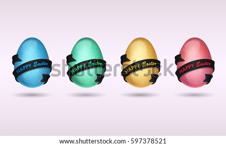 Set of blue, red, gold, green eggs with white ribbons and colored lettering Happy Easter. Vector illustration on white background. Elements for icon, banner, cards, poster, holiday, party.