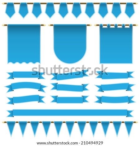 set of blue ribbons, banners and bunting with light blue trim, isolated on white with transparencies - stock vector