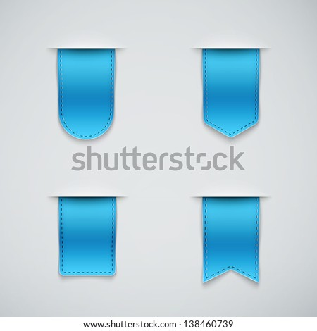 set of blue ribbons different shapes eps10 - stock vector
