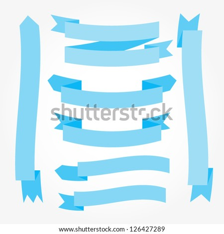 Set of blue ribbons. Vector illustration. Retro banners - stock vector