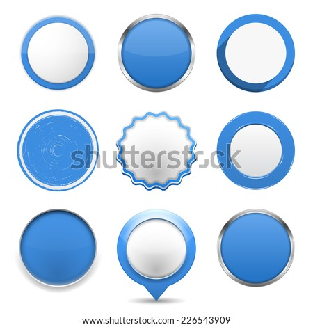 Set of blue round buttons on white background, vector eps10 illustration - stock vector