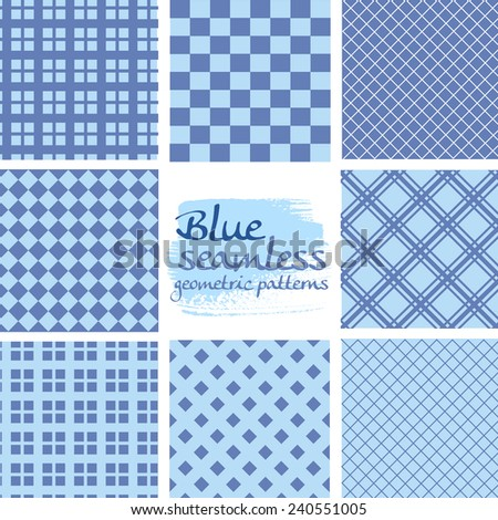 Set of blue seamless geometric patterns in square patterns - stock vector