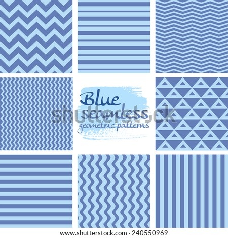 Set of blue seamless geometric patterns on white 1 - stock vector