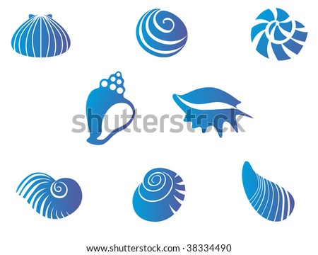 Set of blue seashells - abstract emblem or mascot or logo template. Jpeg version also available - stock vector