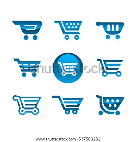 Set of blue shiny metallic shopping cart icons