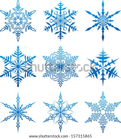 Set of blue snowflake shapes. Christmas icons. Vector illustration.
