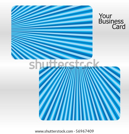 Set of blue stripped business cards, part 18. Vector illustration. - stock vector