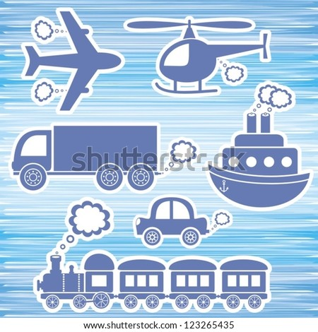 set of blue transport icons on blue background - stock vector