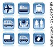 Set of blue travel icons over white background - stock vector