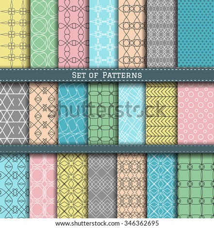 Set of blue, turquoise, gray and pink summer sea patterns. Scrapbook design elements. 21 different summer patterns can be used for wallpaper, pattern fills, web page,background,surface