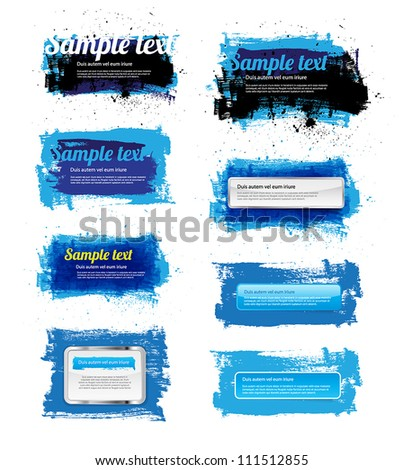 Set of 8 blue vector hand painted grungy banners / badges - stock vector