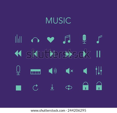 Set of blue vector music icons with violet background. Minimal style design. - stock vector