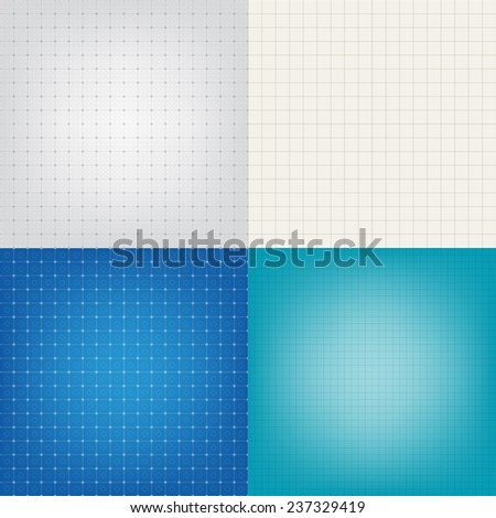 Set of blueprint graphing paper grid background vector EPS10 format in different line styles and colors - stock vector
