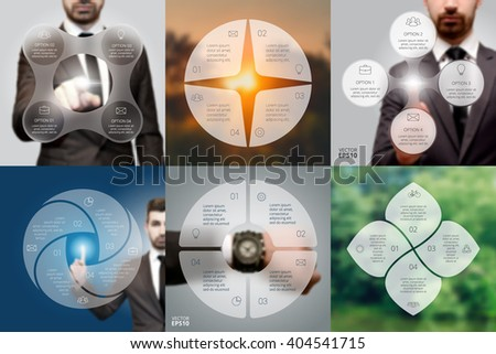 Set of blur infographic. Business concept with 4 options, parts, steps or processes. Linear graphic. Blur vector background. Businessman, watch, sunrise and eco. - stock vector