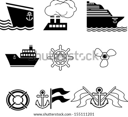 set of boat icons - stock vector