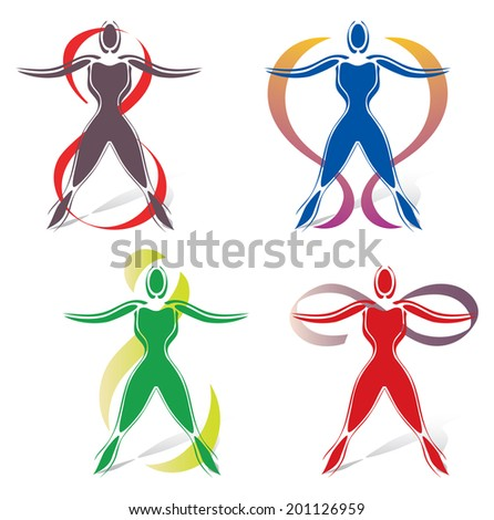 Set of Body Icons with Infinity Symbol - stock vector