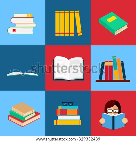 Set of book flat design. Collection of vector illustrations. - stock vector