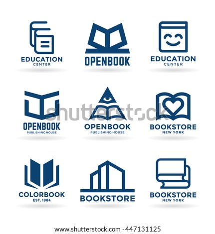 Set of book symbols and logo design elements - stock vector