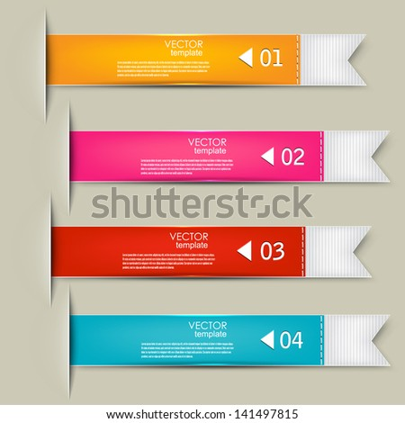 Set of bookmarks, stickers, labels, tags. Numbered banners. Vector template for infographics - stock vector