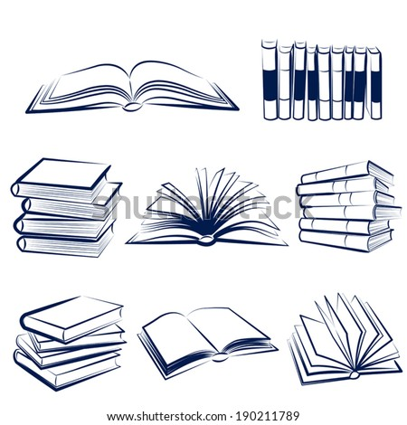 Set of books hand drawn.Vector illustration - stock vector