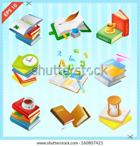 Set of Books Icons Collection 2 - stock vector