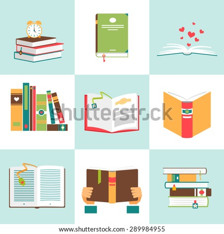 Set of books in flat design. Literature and library, education and science, knowledge and study, vector illustration - stock vector