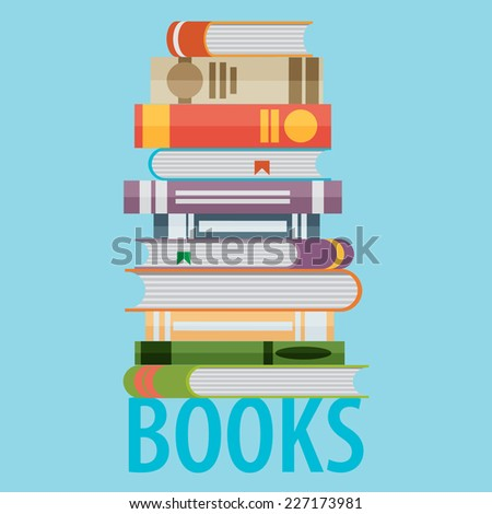 Set of books in flat design style - stock vector