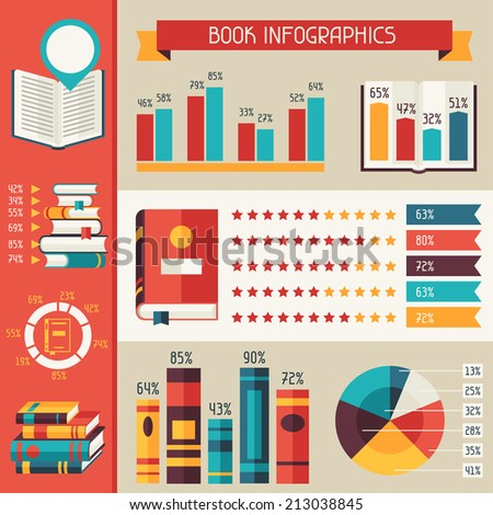 Set of books infographic in flat design style. - stock vector