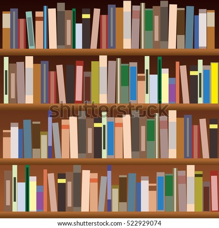 Set of bookshelves. Vector flat illustration. Books on wooden bookshelf.